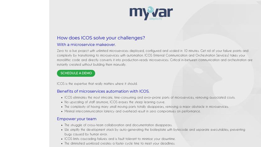 Myvar.cloud Landing Page