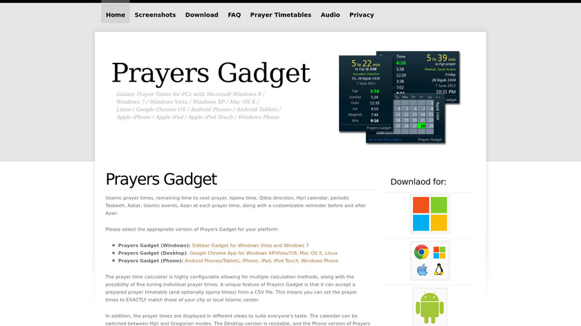 Prayers Gadget (Prayer Times) Landing Page