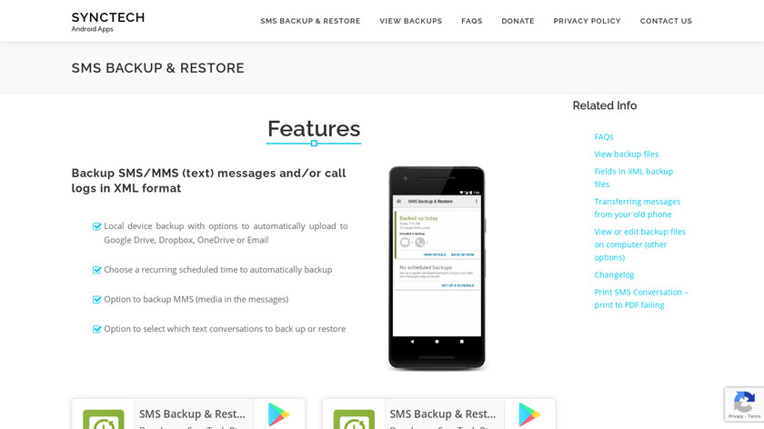 SMS Backup & Restore Landing Page