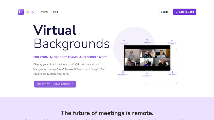 HiHello Backgrounds for Zoom Landing Page