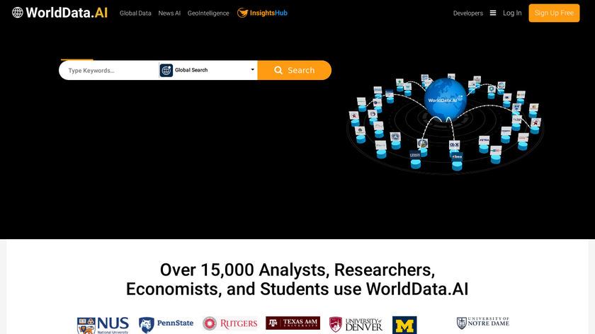 WorldData.ai Landing Page
