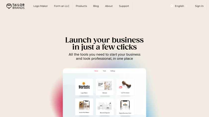 Tailor Brands Landing Page