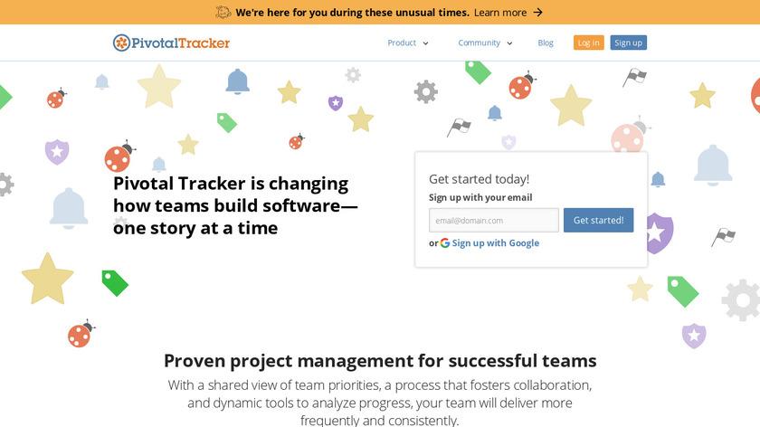 Pivotal Tracker Landing Page