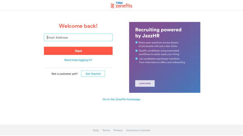 Zenefits Landing Page
