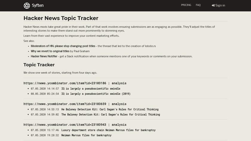 Hacker News Topic Tracker Landing Page