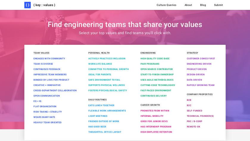 Key Values Landing Page
