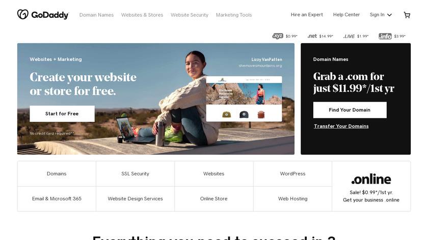 GoDaddy Landing Page