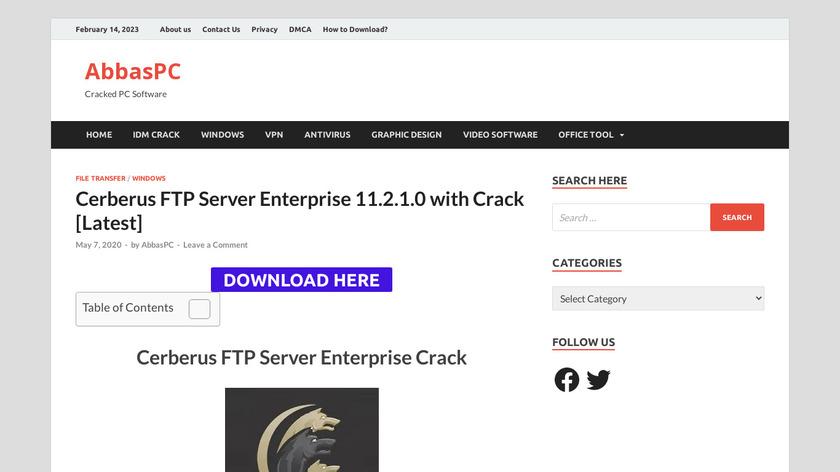 Cerberus FTP Server Landing Page