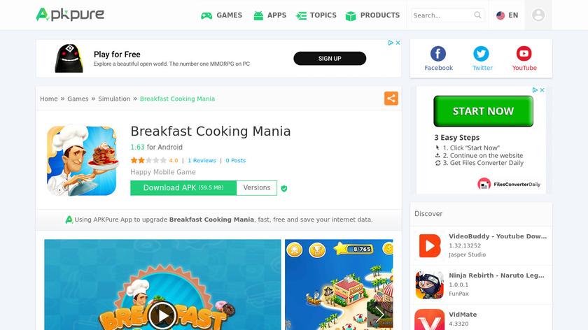 Breakfast Cooking Mania Landing Page