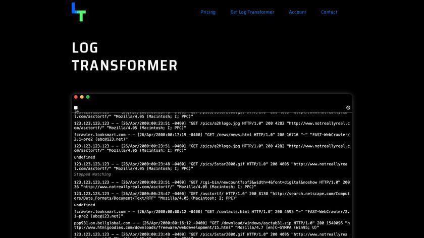 Log Transformer Landing Page