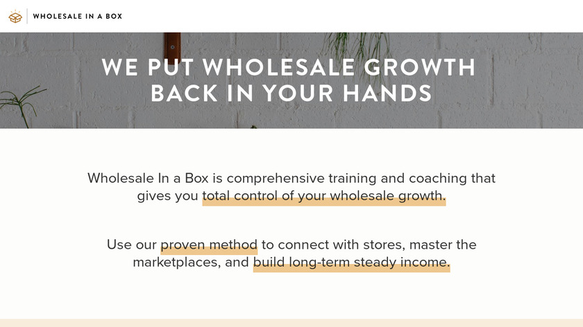 Wholesale In A Box Landing Page