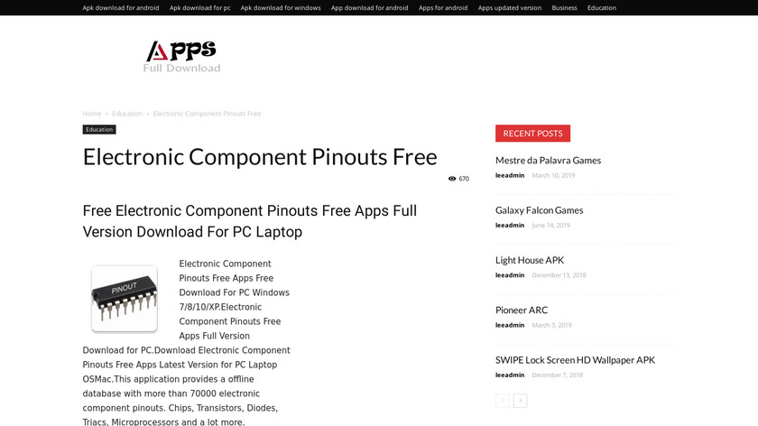 Electronic Component Pinouts Full Landing Page