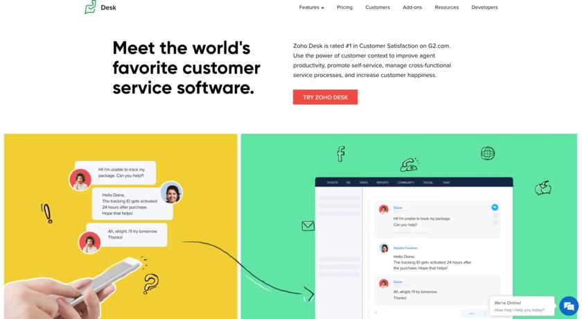 Zoho Desk Landing Page