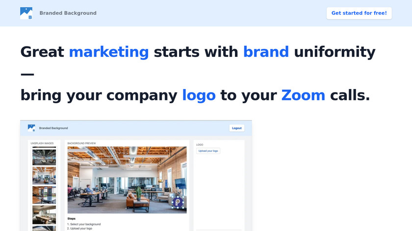 Branded Background Landing Page