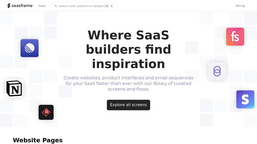 SaaSFrame Landing Page