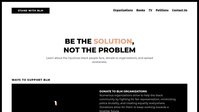 Stand With BLM Landing Page
