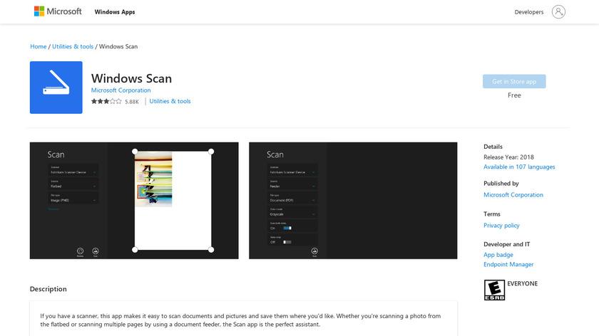 Windows Scan Landing Page