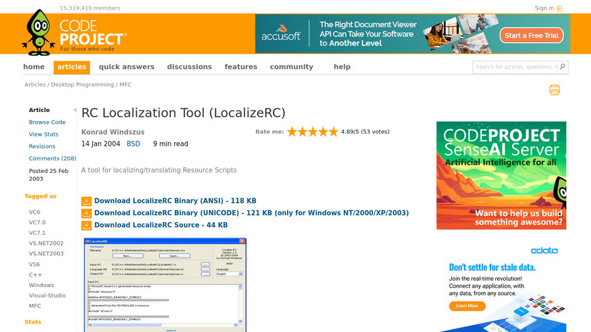 RC Localize Landing Page
