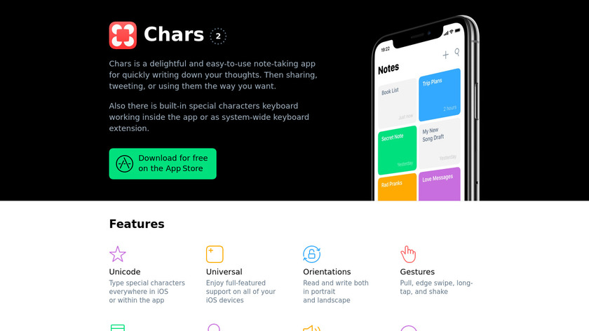 Chars Landing Page