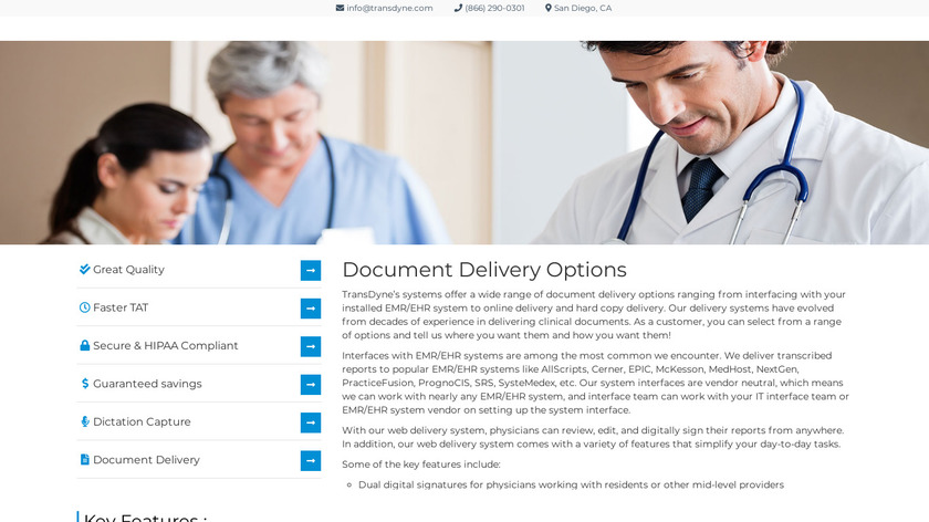 TransDyne Medical Transcription Service Provider Landing Page