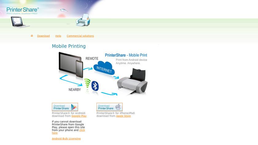 PrinterShare Mobile Print Landing Page