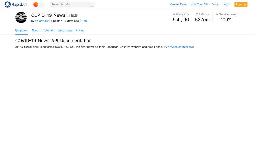 COVID-19 News API Landing Page