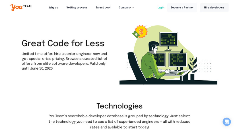 Great Code for Less Landing Page