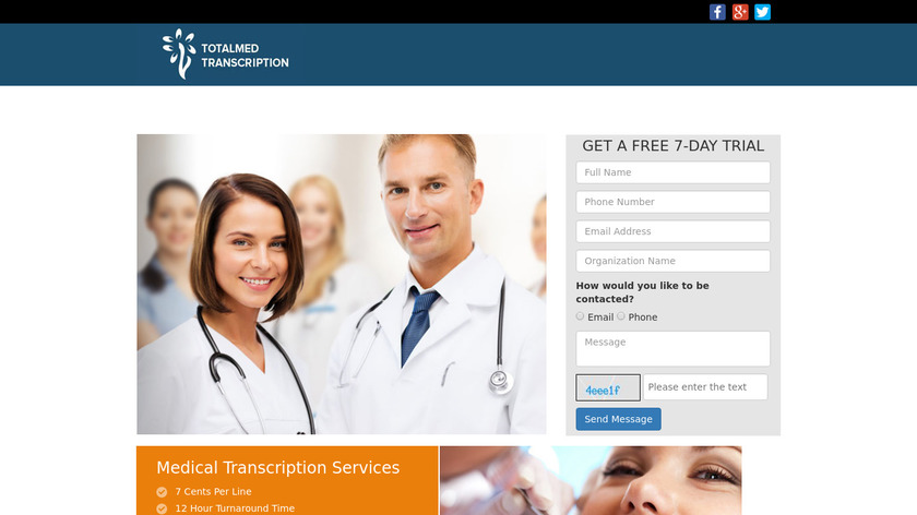 Totalmed Transcription Landing Page
