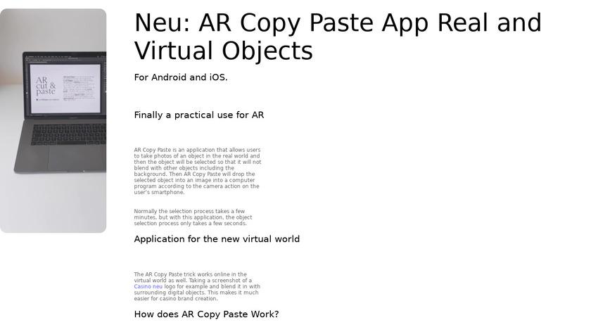 AR Copy Paste Landing Page