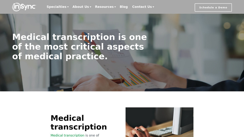 InSync Medical Transcription Landing Page