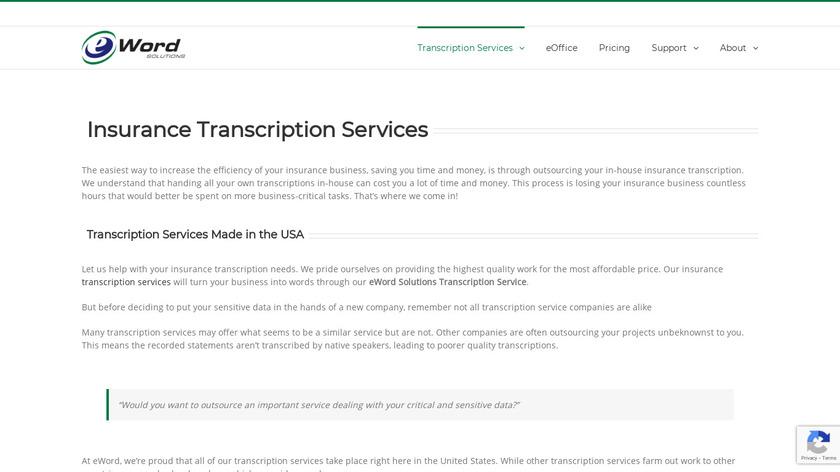 eWord Transcription Services Landing Page