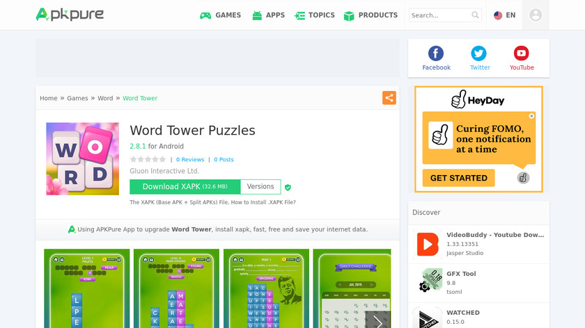 Word Tower Puzzles Landing Page