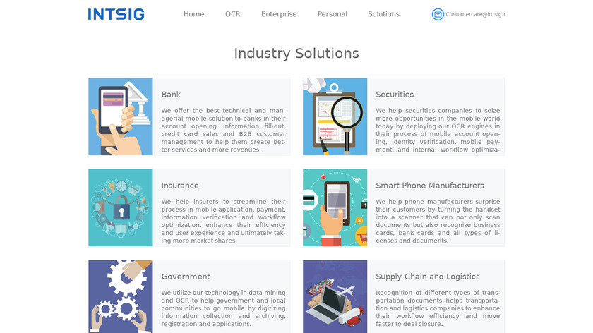 Intsig OCR Solutions Landing Page