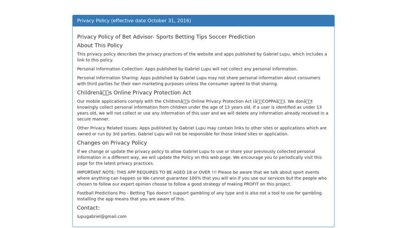 Bet Advisor VIP Landing Page