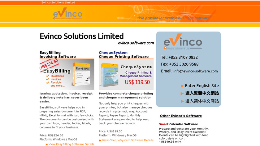 Cheque Writer by Evinco Landing Page