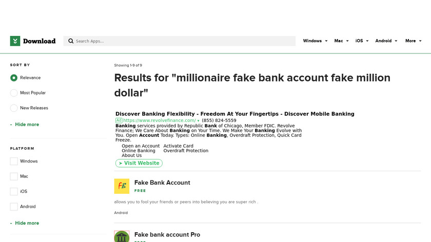 Billionaire Fake Bank Account Pro Landing Page