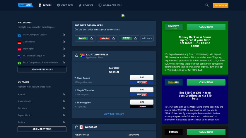 SmartBets Landing Page
