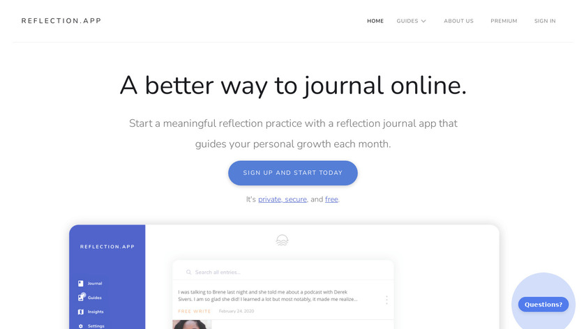 Reflection.app Landing Page