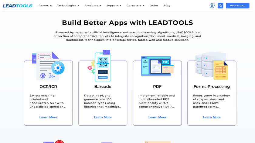LEADTOOLS Check Scanning App Landing Page
