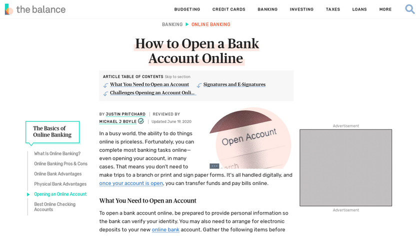 Open USA Bank Account ONLINE Landing Page