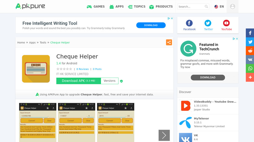 Cheque Helper Landing Page