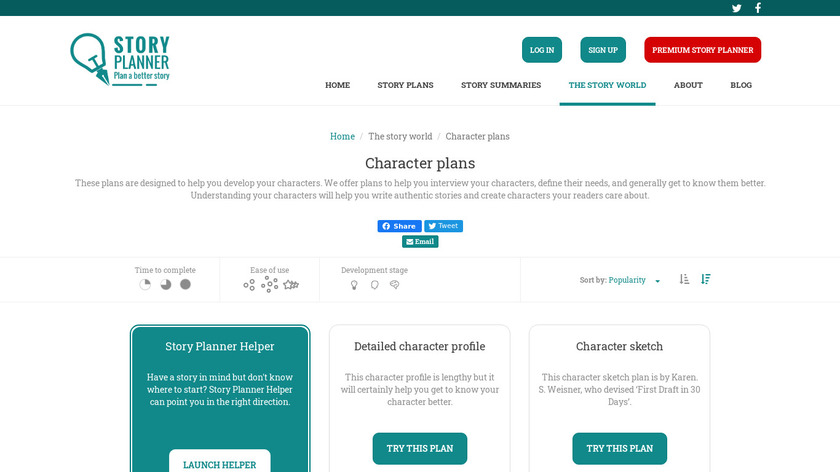 Character Story Planner Landing Page