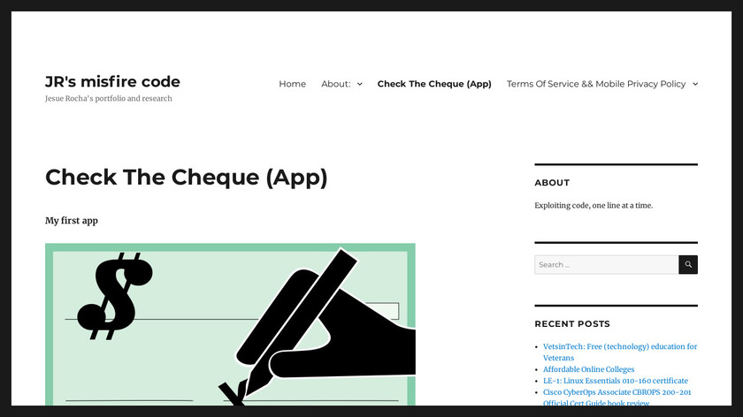 Check The Cheque Landing Page