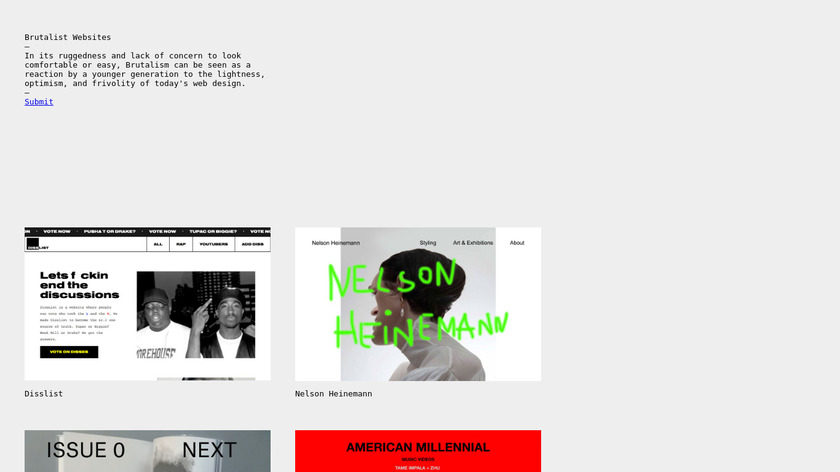 Brutalist Websites Landing Page