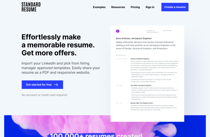 Standard Resume Pro Landing Page