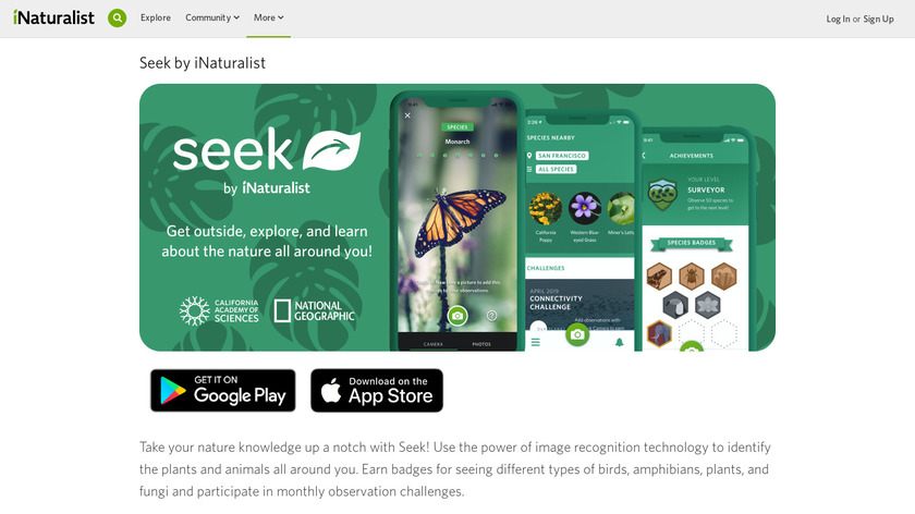 Seek by iNaturalist Landing Page
