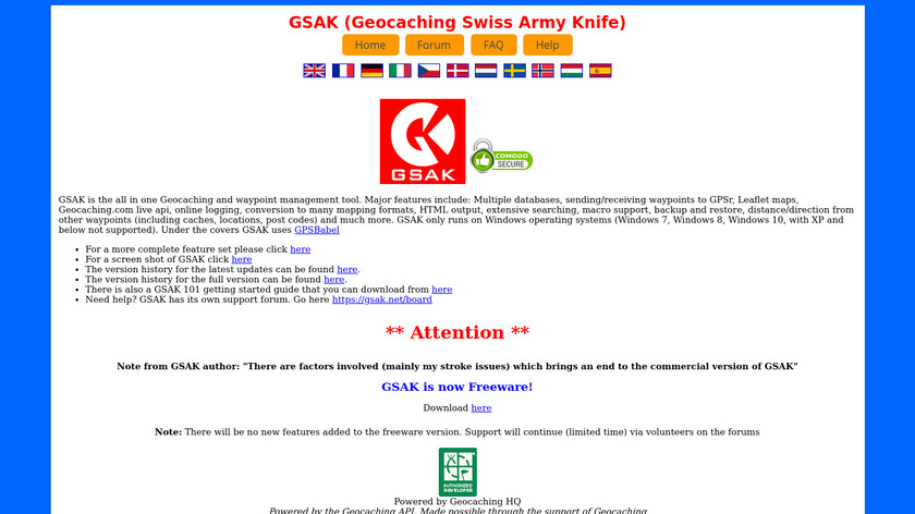 GSAK (Geocaching Swiss Army Knife) Landing Page