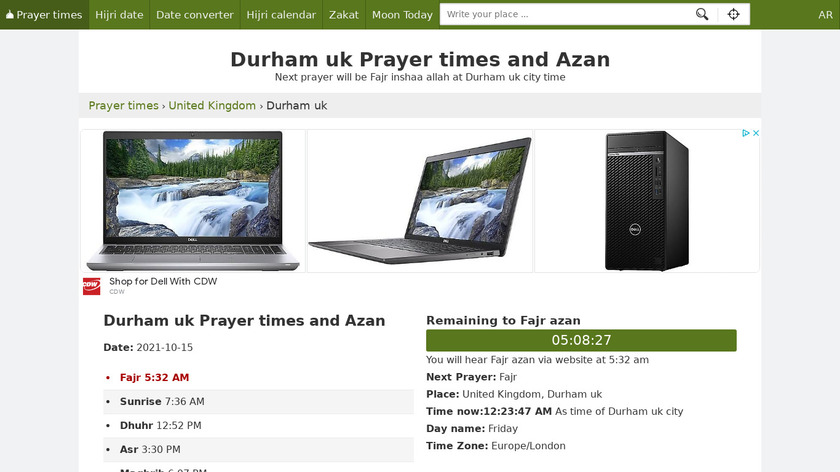 Azan Prayer times UK Landing Page