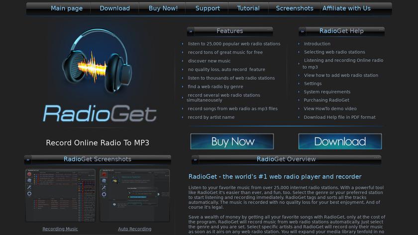 RadioGet Landing Page