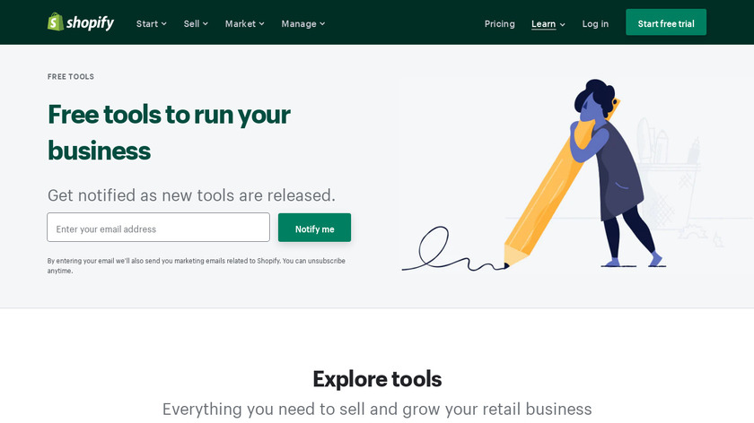 Taler by Shopify Landing Page